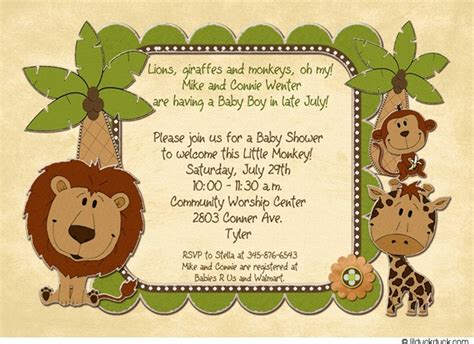 Baby Zoo Animals Baby Shower by July Zoo Animals Baby Shower Invitation Lions Giraffes