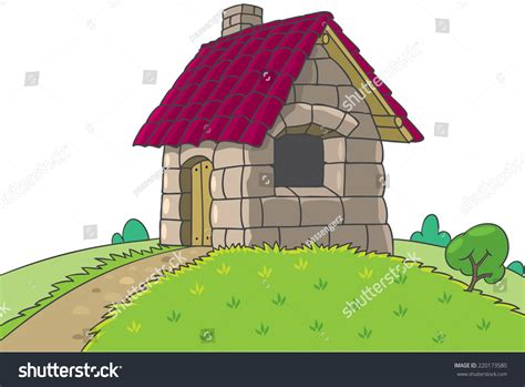 house of bricks fairy house bricks tile stones three stock vector 220173580 shutterstock