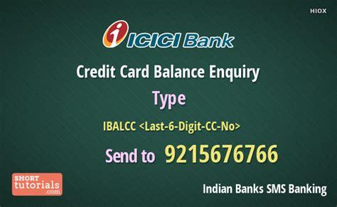 Icici Bank Credit Letter icici bank credit card balance enquiry