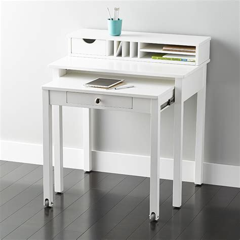 Small Working Desk White Desk White Solid Wood Roll Out Desk The Container Store