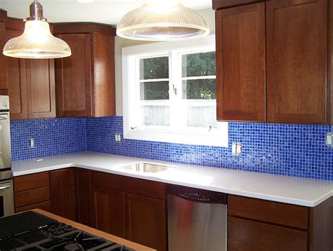 cobalt blue glass tile backsplash home design ideas
