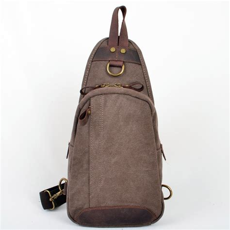 Canvas Chest Bag Coffee vogue chest canvas bag vintage canvas sling bags unusualbag