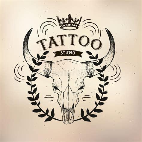tattoo old studio skull bull stock vector