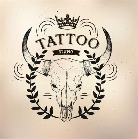 tattoo old school logo tattoo old school studio skull bull stock vector