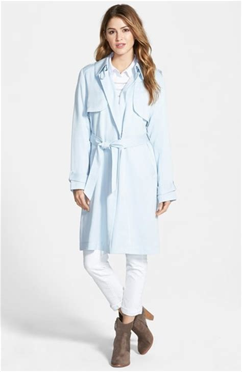 light blue trenchcoat vince camuto draped wrap