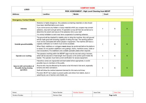 Cleaning From Mewp Risk Assessment Exle To Download Pressure Washing Risk Assessment Template
