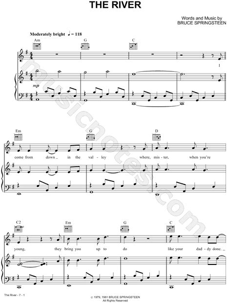 tattooed heart sheet music pdf bruce springsteen quot the river quot sheet music in g major