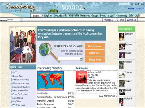 couch surfing website buzz canuck social media networks