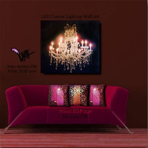 canvas with led lights led canvas golden chandelier wall painting