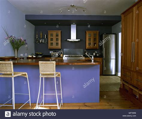modern blue kitchen central island unit breakfast bar