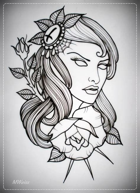tattoo idea quiz girl with rose tattoo flash outline by oldskulllovebymw
