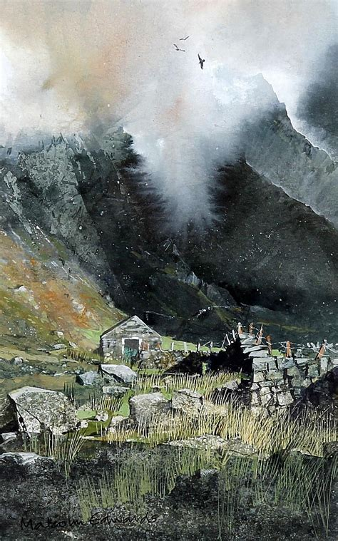 malcolm edwards 20th century ravens and mist snowdonia