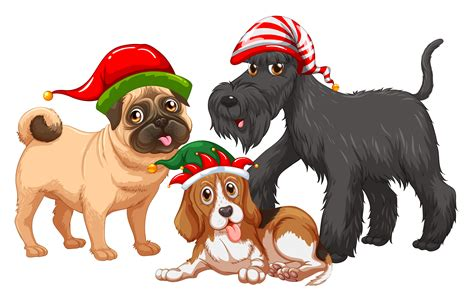 christmas theme  dogs wearing christmas hats   vectors clipart graphics