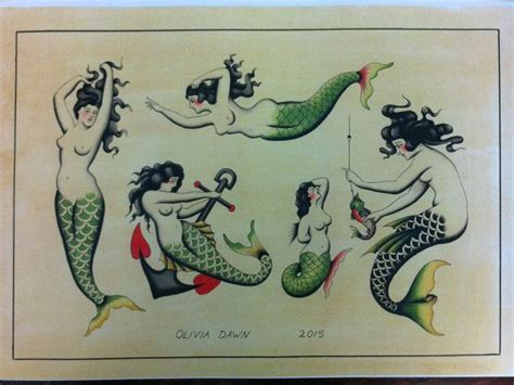 pinup mermaid tattoo traditional mermaid flash sheet print by