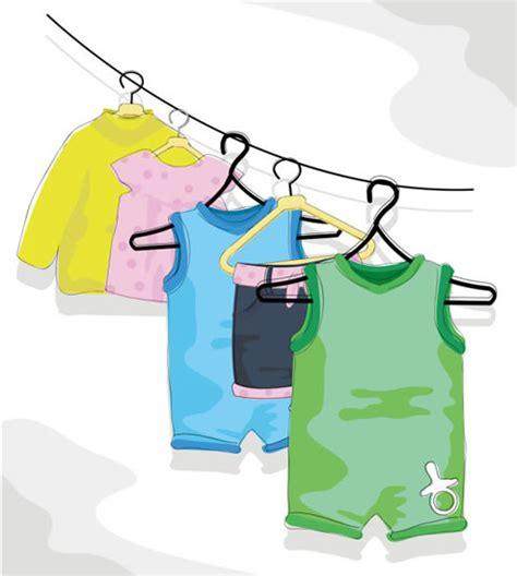 卡通儿童衣服晾晒矢量图 卡通矢量图 三联
