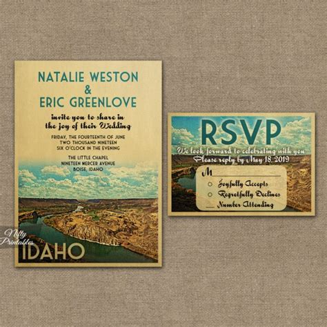 Idaho Wedding Invitations Printed by Idaho Wedding Invitations Vtw Nifty Printables