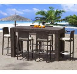 High Patio Table Set High Top Modern Outdoor Wicker Dining Set