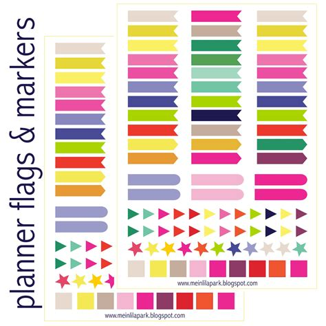 Printable Page Flags For Planner | meinlilapark free printable calendar planner flags and