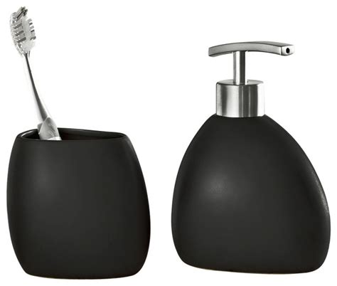 black stoneware bathroom accessories 2 set modern