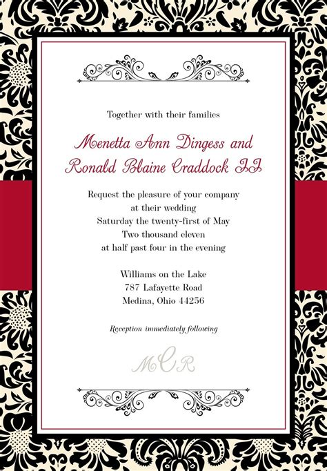 Black And White Wedding Invitations Templates Theparentsunion Org Invitation Templates With Photos