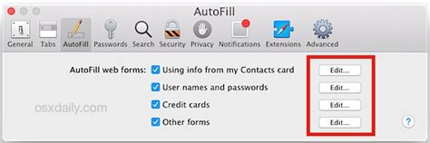 how to update autofill on mac edit autofill information in safari for mac os x