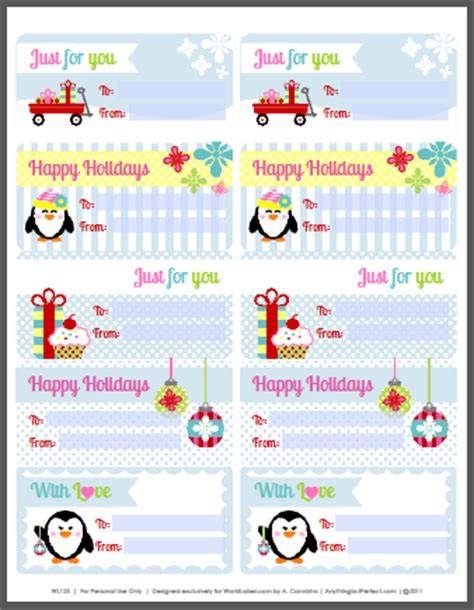 holiday labels set with penguins by anythingbutperfect com