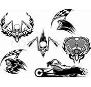 Set Of Motor Racing Skulls In Black And White Designs With