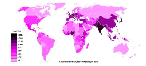 world population city density map list of countries and territories by population density