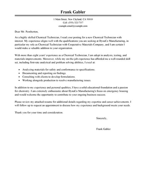 Food Lab Technician Cover Letter by Best Chemical Technicians Cover Letter Exles Livecareer