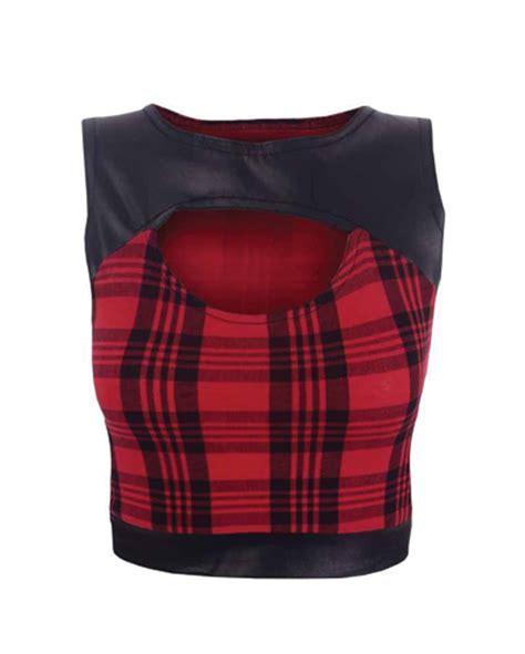 Crop Flanel leather embellished flannel crop top manufacturers