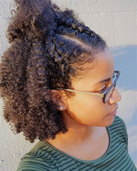 natural hair after five styles quot wash and go with three cornroll braids in front this was