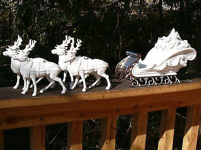 santa and sleigh vintage 40s plaster of paris dept 56 winter silhouette quot santa s sleigh and 4 reindeer with metal runners and white