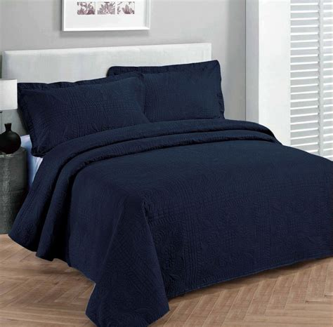 navy blue coverlet queen queen size 3 pc solid embossed bedspread bed cover new