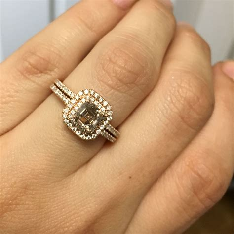 Hublot Hb024 Brown Ring Rosegold 14k gold 1ct brown asscher engagement ring