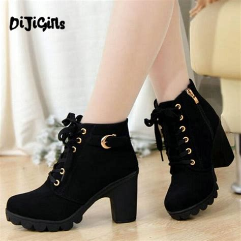 Heels Boot Korea Gds 284 autumn winter new plus velvet boots thick heels black matte korean ol