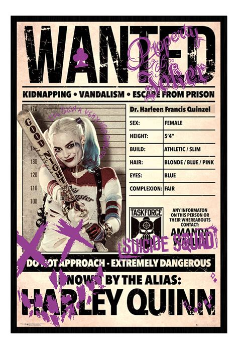 framed harley quinn wanted squad film poster new