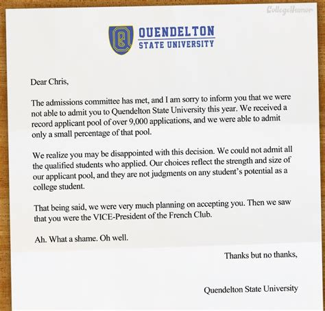 College Admission Rejection Letter Sle Harshest College Rejections Collegehumor Post