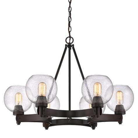 Seeded Glass Chandeliers Golden Lighting Galveston 6 Light Rubbed Bronze Chandelier With Seeded Glass Shades 4855 6 Rbz