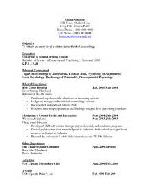 Counseling Psychologist Sle Resume by Sle Cv Psychology Graduate School Sle Customer Service Resume
