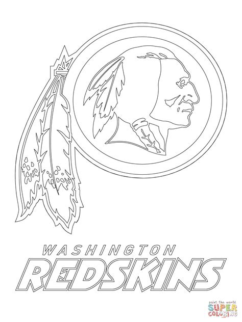 washington redskins logo coloring page free printable