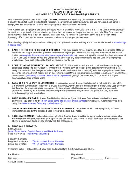 Credit Card Terms And Conditions Template Corporate Credit Card Agreement Hashdoc