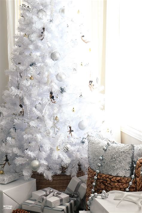 white decor white christmas tree rustic glam style setting for four