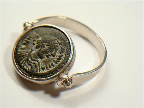 biblical bronze coin jewelry ring 300 400 ad for