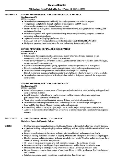 senior software development manager resume exle senior manager software development resume sles velvet