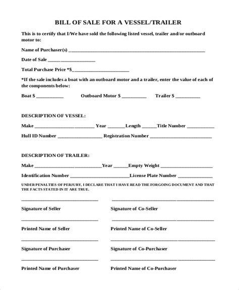 blank bill of sale for boat and trailer trailer bill of sale form 9 free documents in word pdf