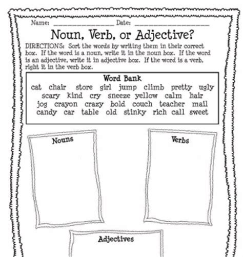 Nouns Verbs Adjectives Worksheet by Communication Arts Grammar Nouns Common State