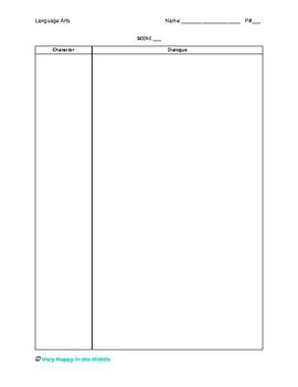 Play Script Writing Template By Very Happy In The Middle Tpt Play Writing Template