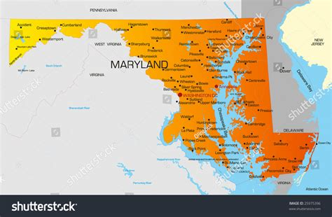 of maryland colors vector color map of maryland state usa 25975396