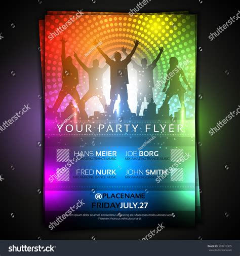 Colorful Party Flyer Template Fully Editable Stock Vector 103419305 Shutterstock Editable Flyer Templates