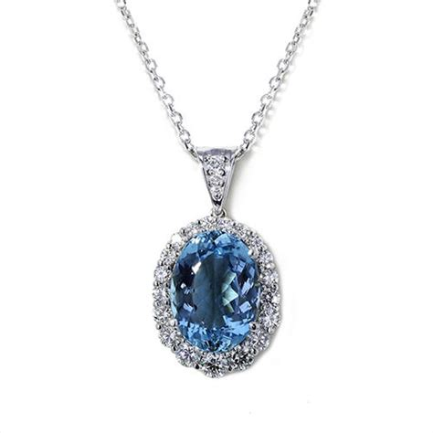 Aquamarine Jewelry by Oval Santa Aquamarine Necklace Jewelry Designs
